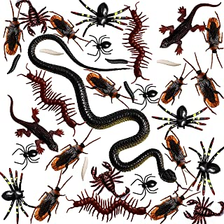 Whaline 148 Pieces Plastic Realistic Bugs Trick Joke Toys Scary Insects Fake Snake Cockroaches Spiders Worms Scorpions and Gecko for Halloween Party Favors and Decoration (9 Types)