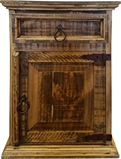Handscrape Rustic Western Country Nightstand End Table Already Assembled (Right Hinged, Honey)
