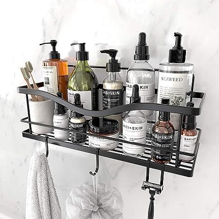 Set of 2 Shower Caddy Silver Shower Storage 36 x 12 x 6H cm Shower Organiser Shower Rack Corner Bathroom Shelves Iron Wire Corner Racks Bathroom Organiser for Bathroom Storage Shower