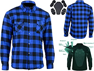 Bikers Gear Australia Motorcycle Kevlar Aramid Lined Protective Flannel Shirt, Blue/Black, Size Large