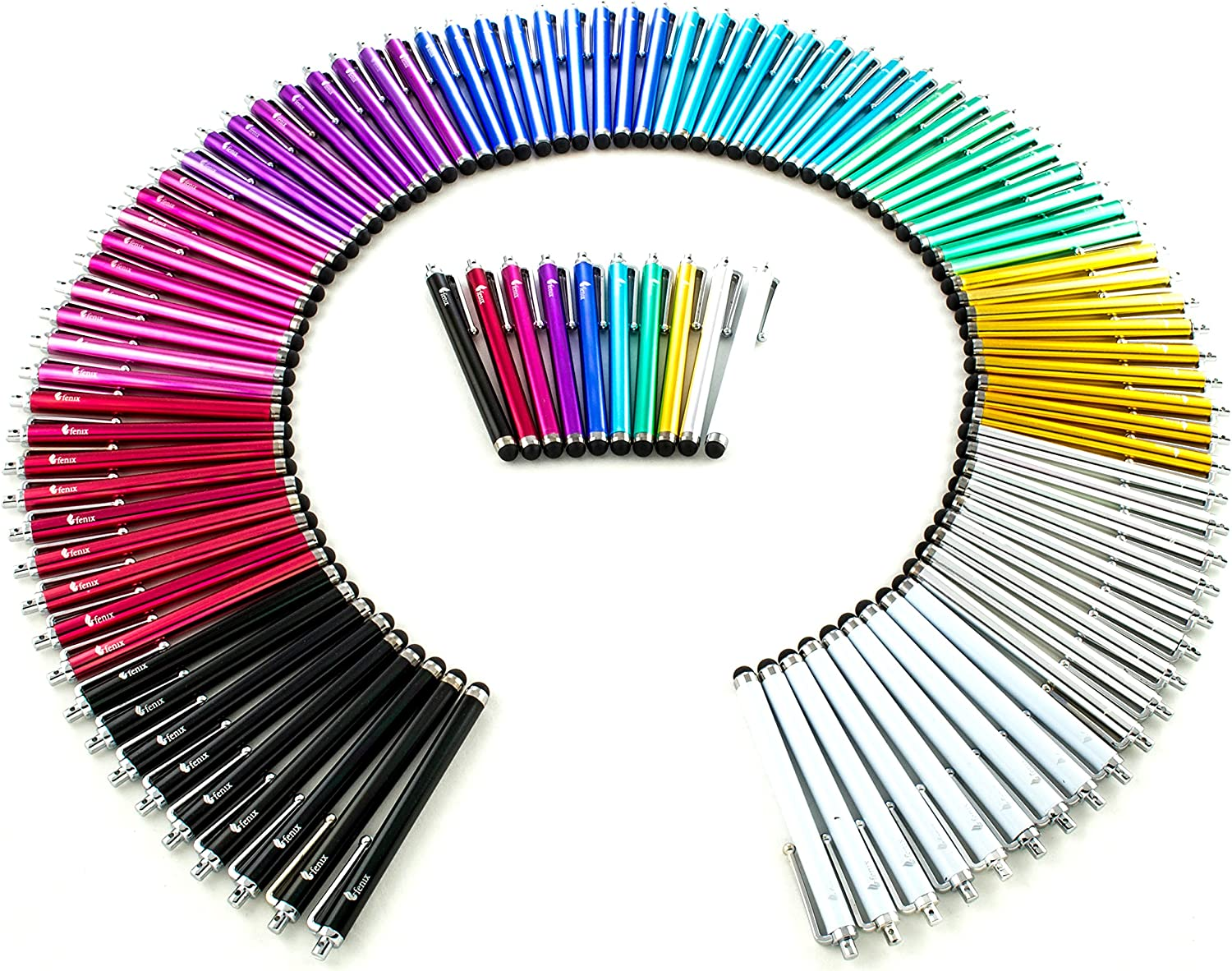 Fenix - Pack of 100 Universal Stylus for iPhone, iPad, Samsung Galaxy Note, Samsung Galaxy S4 S5 S6, LG, Tablet and Much More