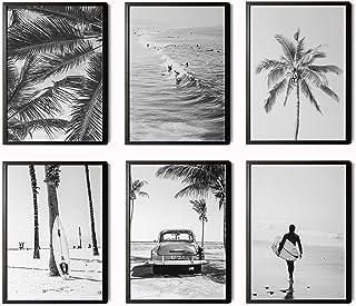 Láminas Decorativas para salón, Comedor, habitación, Dormitorio, Pasillo. Set de 6 Posters Modernos en Blanco y Negro tama...