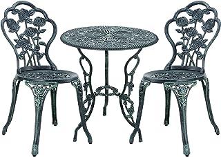 casa.pro Set Bistro Hierro Fundido Mesa + 2 sillas Verde Oscuro Look Antiguo Muebles para jardín, terraza, balcón