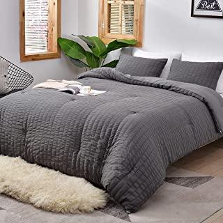 AveLom Seersucker Queen Comforter Set (90x90 inches), 3 Pieces- 100% Soft Washed Microfiber Lightweight Comforter with 2 P...
