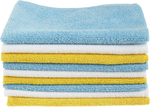 AmazonBasics Blue And Yellow Microfiber Cleaning Cloth 144 Pack