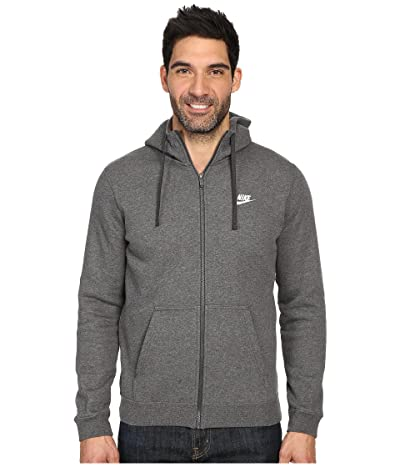 Nike Club Fleece Full-Zip Hoodie (Charcoal Heather/Charcoal Heather/White) Men