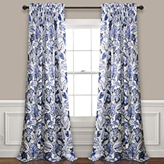Lush Decor Cynthia Jacobean Darkening Window Curtains Panel Set for Living, Dining Room, Bedroom (Pair), 120