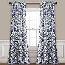 "Lush Decor Cynthia Jacobean Room Darkening Window Panel Curtain Set (Pair), 84"" L,.."