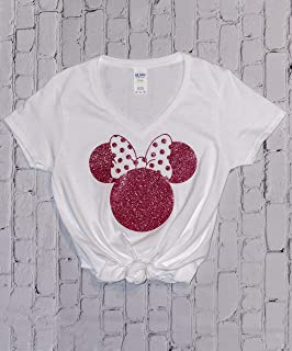 Disney Shirts for Women, Minnie Mouse Rose Gold Glitter Ears, Disneyland Trip Birthday Outfits, Cute T-Shirts