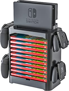 Skywin Game Storage Tower for Nintendo Switch - Stackable Game Disk Rack and Controller Organizer Compatible with Nintendo...
