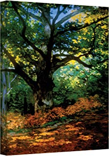 ArtWall Bodmer Oak at Fountainbleau Forest Gallery Wrapped Canvas by Claude Monet, 14 by 18-Inch