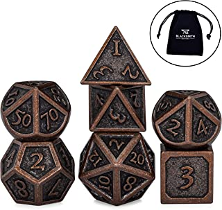 Blacksmith Craft Dice DND Dice Set 7 PCS - Metal Dungeons and Dragons Polyhedral Dice Set with D&D Dice Bag for RPG Gaming - Includes D20 - Blacksmith Craft Dice (Burnished Bronze)