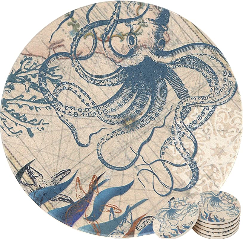ENKORE Coasters Set Of 6 Absorbent Ceramic Stone Keep Spill Off Table Coaster For Drinks In Vibrant Colors And Cork Back Pad Octopus On World Map Novelty Design With NO Holder