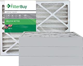 FilterBuy 20x25x4 MERV 8 Pleated AC Furnace Air Filter, (Pack of 4 Filters), 20x25x4 – Silver