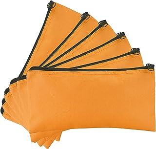 DALIX سستة البنك حقائب ودفع المال المال كيس عملات نقدية 6 حزم باللون البرتقالي