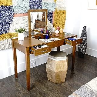 Alveare Home 8008-878 Aimee Vanity Desk Makeup Dressing Table, Walnut