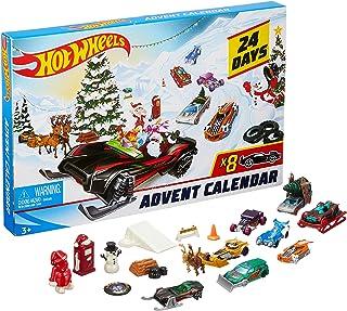 Hot Wheels Calendrier de l'avent, contient 24 surprises, 8 petites voitures et 16 accessoires, pour enfants dès 3 ans, FYN46