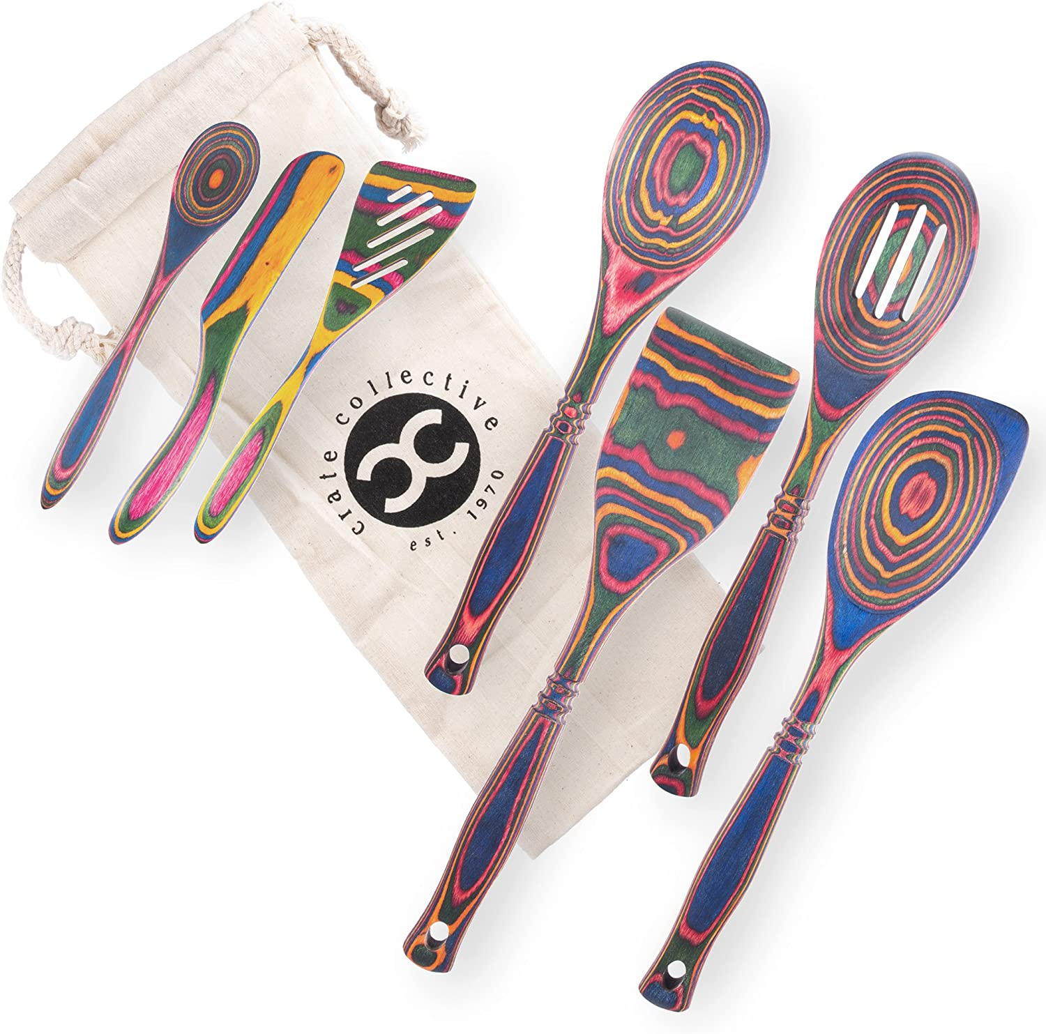 Exotic Sale SALE% OFF Pakkawood 7-Piece Kitchen Utensil Set ! Super beauty product restock quality top! Slotted Spoon with