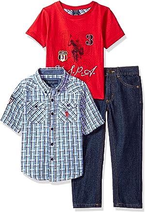 0aabcaf2e U.S. Polo Assn. Little Boys' Short Sleeve Shirt, T-Shirt and Pant