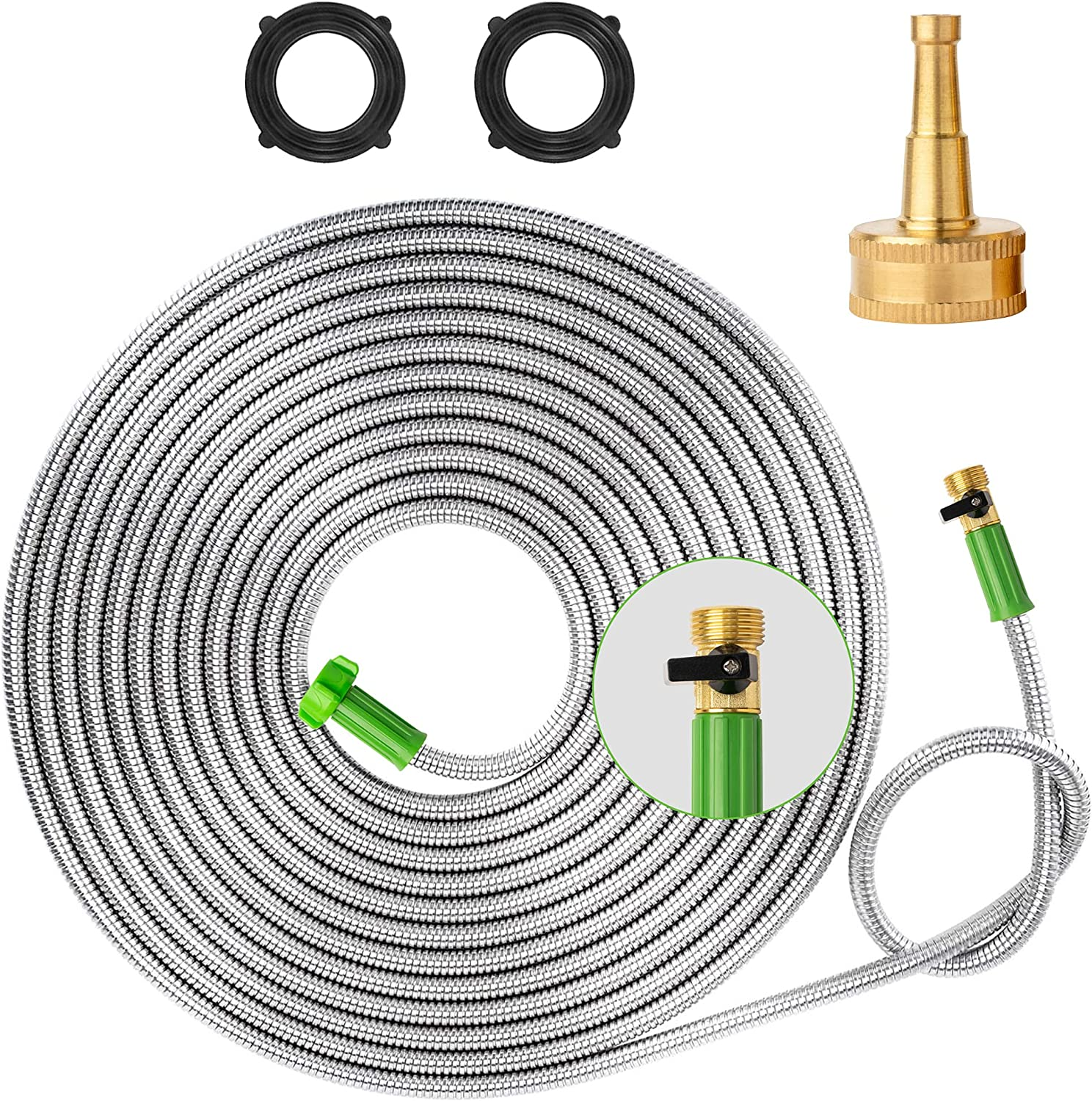 Yanwoo 304 Stainless Steel 15ft Garden Hose with Sprayer Nozzle and ON/OFF Valve, Lightweight, Kink-Free, Heavy Duty Outdoor Hose (15ft)