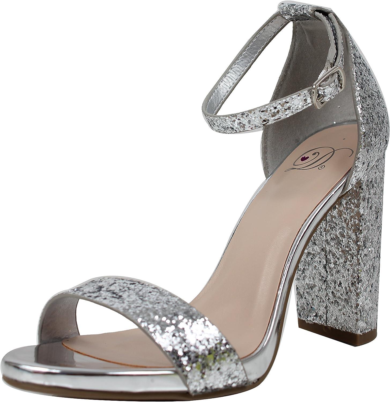 Delicious Women's Glitter Open Toe Ankle Strap Block Heel Sandal