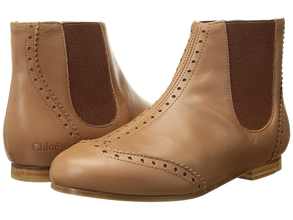 Chloe Kids Calf Leather Ankle Boots with Leather Yokes (Little Kid) (Noisette Brown) Girl