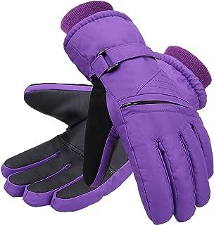 Kid's Boys Girls Waterproof 3M Thinsulate Cotton Wind Guard Anti-Slip Zipper Pocket Winter Ski Gloves
