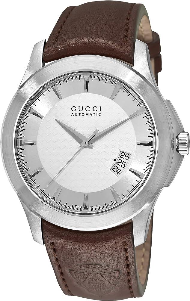 Gucci,orologio automatico da uomo,cassa in acciaio inossidabile e con cinturino in pelle YA126216
