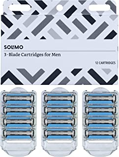Solimo 3-Blade Razor Refills for Men with Dual Lubrication, 12 Cartridges (Fits Solimo Razor Handles only)