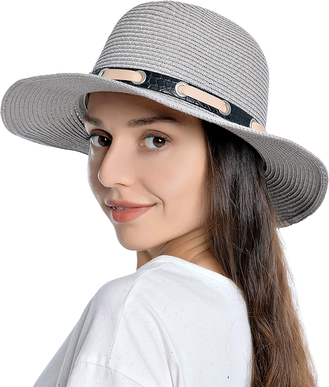 Womens Mens UPF Wide Brim Straw Panama Hat Fedora Summer Beach Sun Hat