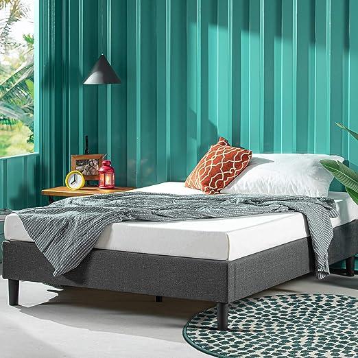 ZINUS Curtis Upholstered Platform Bed Frame / Mattress Foundation / Wood Slat Support / No Box Spring Needed / Easy Assembly, Grey, Full