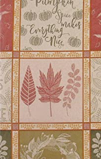 """Fall Leaves and Autumn Breeze Jacquard Vinyl Flannel Back Tablecloth (52"""" x 90"""" Oblong)"""