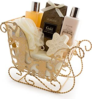 BRUBAKER 6 Pcs Gift Set 'Vanilla' Beauty Spa Set With Golden Sled, Bath Fizzer, Shower Gel, Body Lotion, Bath Crystals, Sponge