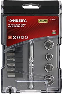 Husky 183032 16-Piece SAE and Metric Microdriver Set with Flexible Head and Mountable Labeled Bit Case