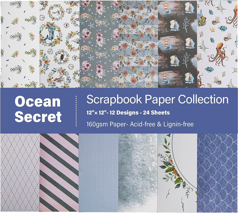 VONDYU Popular Ocean Theme Gifts Scrapbook Paper Life Sea Starfish Lighthouse