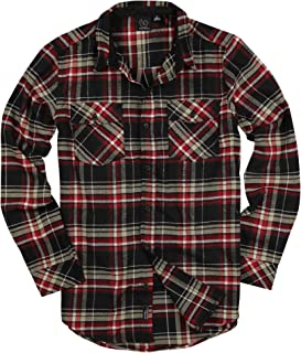 Men's Button Down Long Sleeve Flannel Shirt (Black/Red/White, Large)