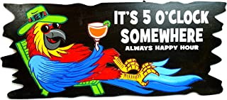 Handmade PARROT IN CHAIR WITH COCKTAIL IN HAND IT'S 5 O'CLOCK SOMEWHERE ALWAYS HAPPY HOUR Wood Beach Sand Tiki Bar Sign