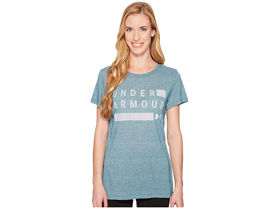 Under Armour Threadborne Graphic Twist Short Sleeve Shirt (Tourmaline Teal Light Heather/White/Metallic Silver) Women