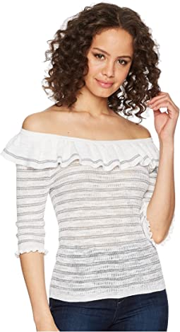 Off Shoulder Skinny Rib Pullover