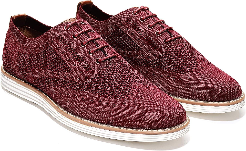 Harrison Myles - Men's Casual Knit Wingtip Oxford Sneaker Shoes