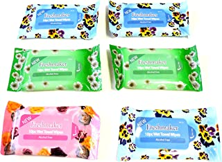 Lot of 6 Packs Travel Size 10 Pack Wet Towel Wipes Baby Wipes Fits in Purse Diaper Bag & Glove Compartment