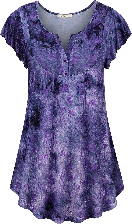 Chicago Mall Bebonnie Women's Vintage Short Sleeve Neck Shirt V Tunic Pleated New item