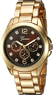 Geneva Women's GV/1008BKGB Crystal-Accented Gold-Tone Bracelet Watch