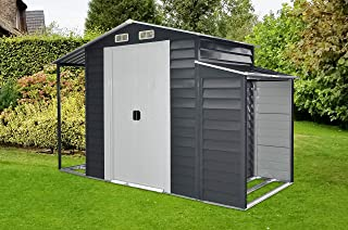 Hanover HANMLTISHD-GW Separate Firewood Storage and Open Extension 3-in-1 Galvanized Steel Multi-Use Shed, Gray