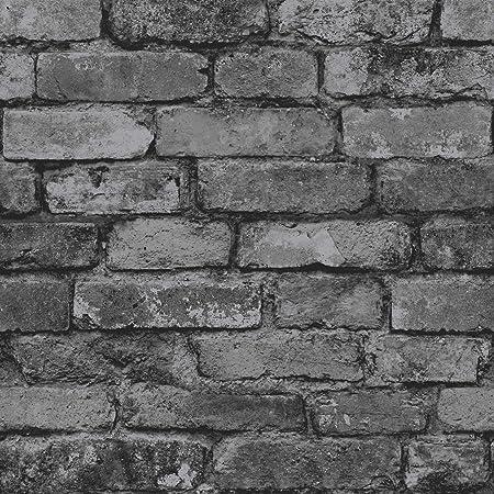 Brewster FD31284 Rustic Brick Wallpaper, Silver/Black