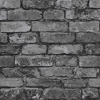 Fine Decor Charcoal Black/Silver Grey - Realistic - Fd31284 - Rustic Brick - Wallpaper