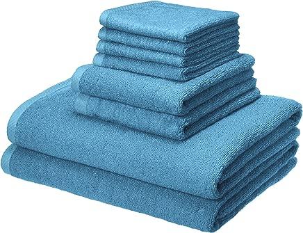 AmazonBasics Quick-Dry Towels - 100% Cotton, 8-Piece Set, Lake Blue