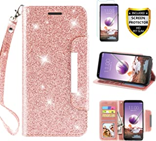 LG Stylo 4 Case, Phone Wallet for LG Stylo 4 Plus/Stylo 4+/Q Stylus 4 with Protector Screen Leather Bling Glitter Flip Wallet Case Wrist Strap with Kickstand Credit Card Holder for Girls/Women, Pink