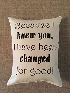 Wicked quote, pillow quote, changed for good, birthday gift, best friend gift, engagement, daughter gift, decorative pillow, accent pillow, Broadway quote, mothers day gift, girl friend, anniversary