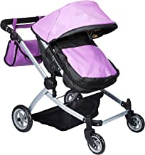 Babyboo Luxury Leather Look Twin Doll Pram/Stroller with Free Carriage (Multi Function View All Photos) - 9651A Purple Leather